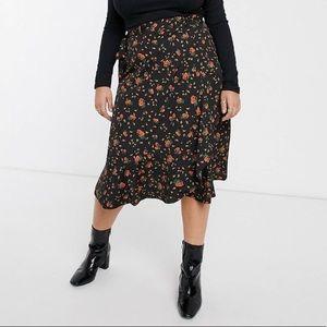 ASOS Simply Be ruffle midi skirt, floral print